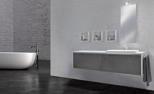 Casa arte by armonie bagno moderno bianco e grigio rivestimento